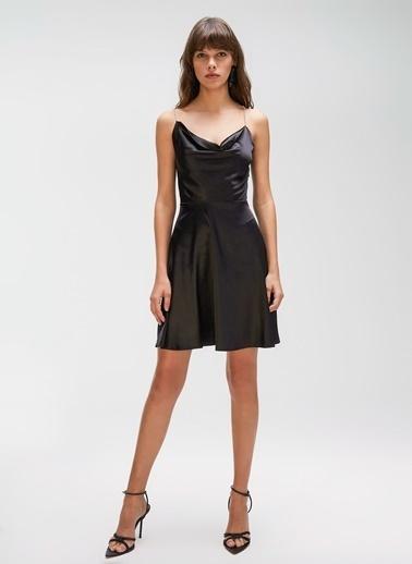 People By Fabrika Taşlı Şeritli Saten Elbise Siyah